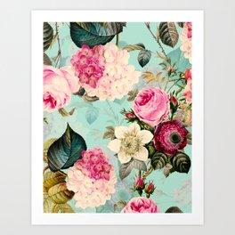 Vintage & Shabby Chic - Summer Teal Roses Flower Garden Art Print