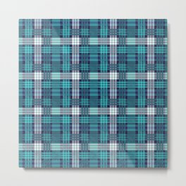 deep teal plaid Metal Print