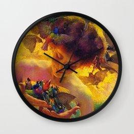 'The Angel of the Songbirds' still life portrait painting by František Dvořák Wall Clock