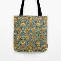 arabic Tote Bags featuring Arabic Marigold by GEETIKAGULIA