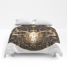 Deer Skull and Gold Paisley Comforters