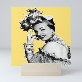 Carmen Miranda Portrait, Black and White Artwork for Wall Art, Prints, Posters, Tshirts, Bags, Men, Mini Art Print