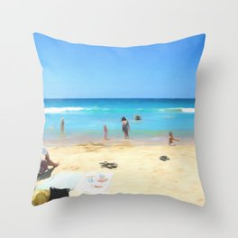 Day At The Beach Looking At The Water Throw Pillow