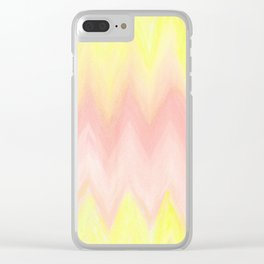 Geometrical blush pink yellow watercolor ikat pattern Clear iPhone Case