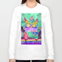 hippie Long Sleeve T-shirts featuring Hippie Owl by Mesterpieces