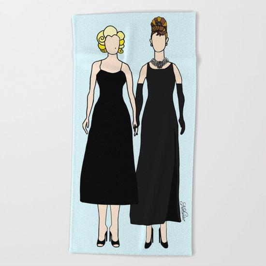 Little Black Dress of Audrey Marilyn Beach Towel