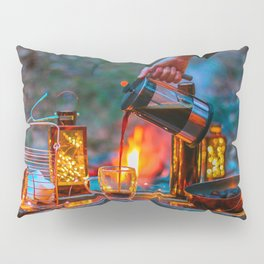 Pouring Coffee by the Campfire Pillow Sham