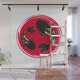 Japan flower and carp Wall Mural