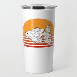 Vintage Goldfish Sunset Retro Gift Travel Mug