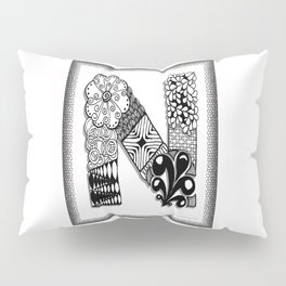 Zentangle N Monogram Alphabet Initials Pillow Sham