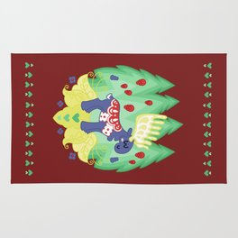 Blue Valley Moose - swedish dala-horse Rug