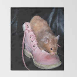 The Old Hamster in the Shoe Throw Blanket