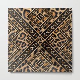 Leopard Fur with Ethnic Ornaments #2 Metal Print