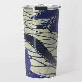 African Ankara Blue Floral Print Travel Mug