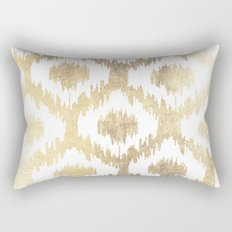 Modern white hand drawn ikat pattern faux gold  Rectangular Pillow