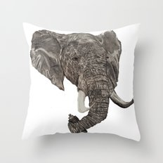 Street Elephant Throw Pillow