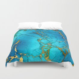 Gold And Teal Blue Indigo Malachite Marble Duvet Cover