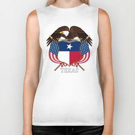 Texas flag and eagle crest concept Biker Tank