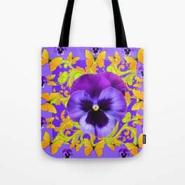 PURPLE PANSIES YELLOW BUTTERFLIES ABSTRACT FLORAL Tote Bag
