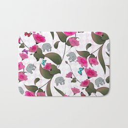 Abstract neon pink green cute elephant floral Bath Mat