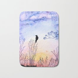 Watercolor Painting of a Bird on  Branch Bath Mat