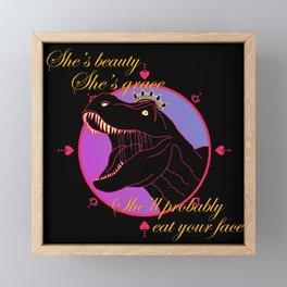 T-rex queen Framed Mini Art Print