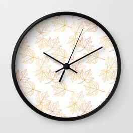 Maple Leaf (White Glow) - Gold Wall Clock