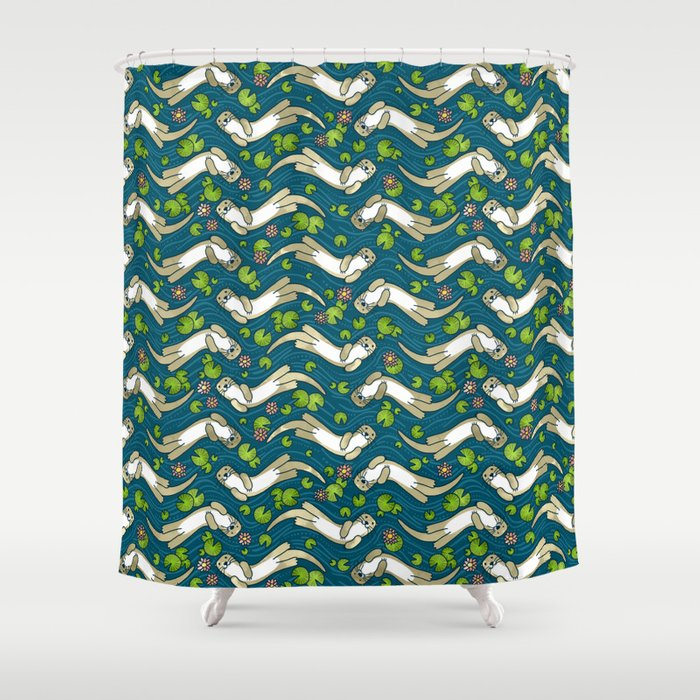 Otter And Water Lily Shower Curtain