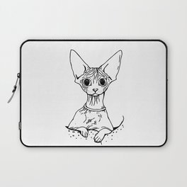 Big Eyed Pretty Wrinkly Kitty - Sphynx Cat Illustration - Nekkie - Cat Lover Gift Laptop Sleeve