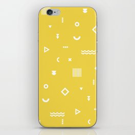 Yellow and white geometric shapes pattern iPhone Skin