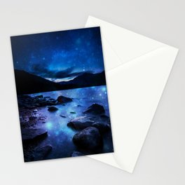 Magical Mountain Lake Dark Blue Stationery Cards