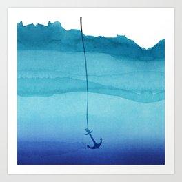 Cute Sinking Anchor in Sea Blue Watercolor Art Print