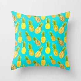 Pineapple Doodles On Aqua Throw Pillow