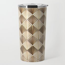Facing Suns - Gold and White - Classic Vintage Art Deco Pattern Travel Mug