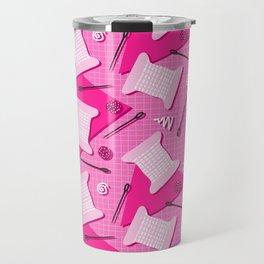 Memphis Sewing in Pink Travel Mug