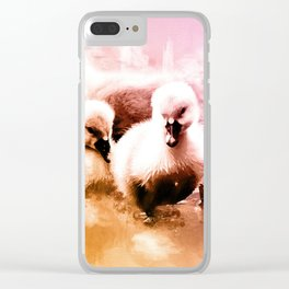 Cygnets Huddle Together Clear iPhone Case