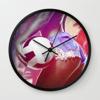 volleyball Wall Clocks featuring Beach volleyball girl sexy by Swagnation Dopetribe