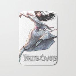 White Crane Comic Kung Fu Girl tshirt cute martial arts gift Bath Mat