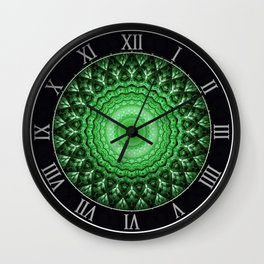 Ornamented mandala in green tones Wall Clock