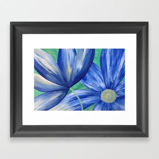 Large Blue Flowers Framed Art Print