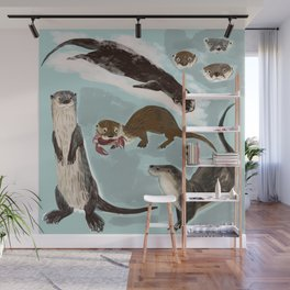 New World otters Wall Mural