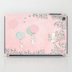Cute flying Bunny with Balloon and Flower Rabbit Animal on pink floral backround iPad Case