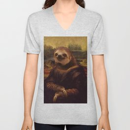 Sloth  Mona Lisa Unisex V-Neck