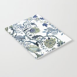 Blue vintage chinoiserie flora Notebook
