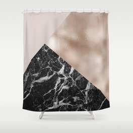 Layered rose gold and black campari marble Shower Curtain
