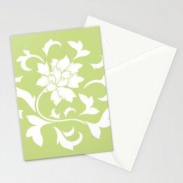 Oriental Flower - Daiquiri Green Circular Pattern Stationery Cards