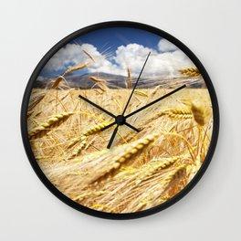 Greece. Crete. Golden field. Yellow field in the mountains of Greece. Wall Clock