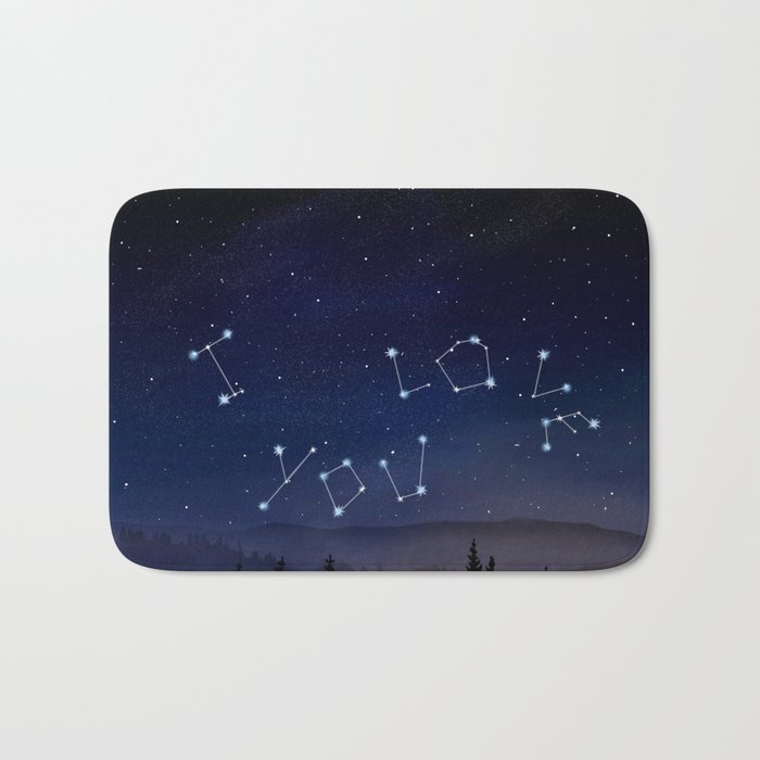 I love You Stars Design Bath Mat