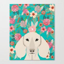 Dachshund florals flower pet portrait dog art dachsie doxie pet art dog breeds Canvas Print