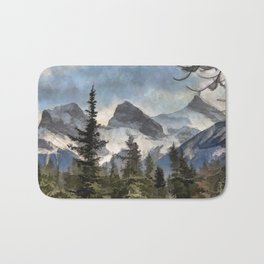 The Three Sisters - Canadian Rocky Mountains Bath Mat